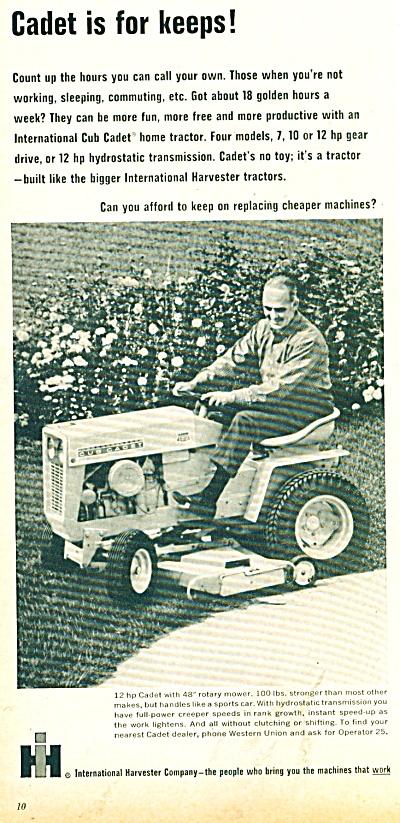 Vintage IH International Harvester Cub Cadet Tractor AD (Image1)