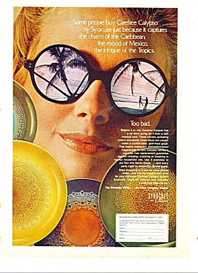 1970 Syracuse China Ad Carefree Calypso
