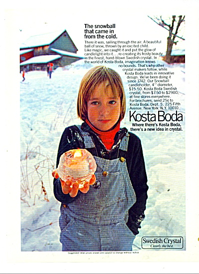 Kosta Boda - Swedish Crystal ad 1978 (Image1)