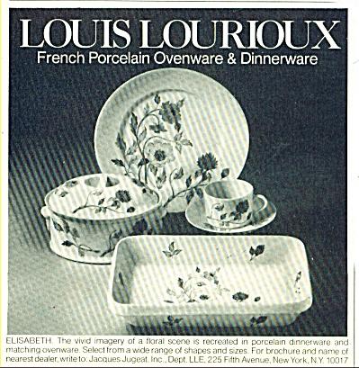 1977 Louis Lourioux Dinnerware AD PATTERN ELISABETH (Image1)