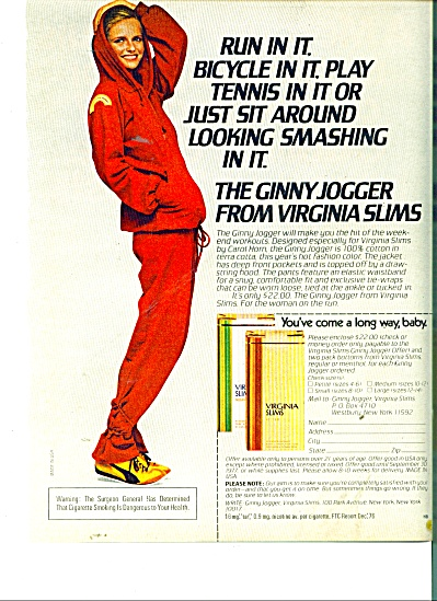 Virginia Slims cigarettes ad 1977 GINNY JOGGER (Image1)