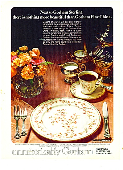 Gorham china, sterling, crystal ad 1978 SPRING MEADOW (Image1)