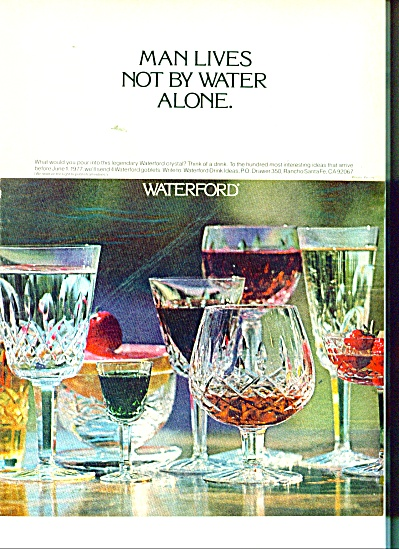 Waterford crystal ad 1977 MAN LIVES (Image1)
