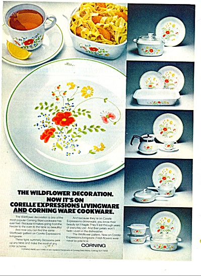 1978 Corning CORNINGWARE WILDFLOWER Cookware AD (Image1)