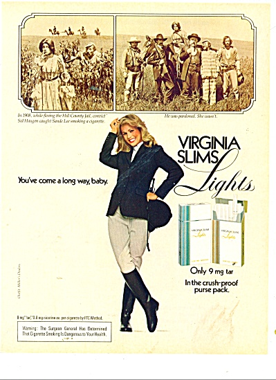 1981 Virginia slims Lights cigarettes AD HE WAS PARDON (Image1)