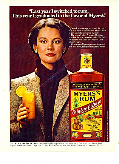 1980 Myer's Rum Ad I Switched This Year