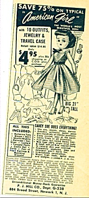 1950s AMERICAN GIRL SAUCY SUE DOLL AD Miss Re (Image1)