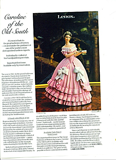 Caroline of the Old South - Lenox ad 1986 (Image1)