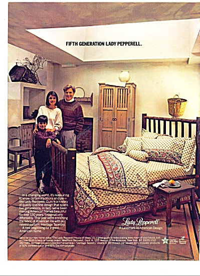 1986 Lady Pepperell Linens Ad Heritage Tapest