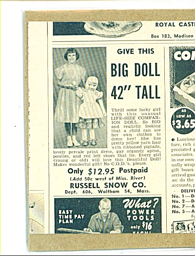 1952 Russel Snow 42 in WALKING BIG DOLL AD (Image1)