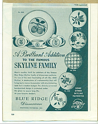 Blue Ridge dinnerware ad 1952 (Image1)