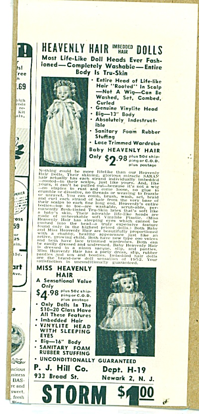 1952 P.J. Hill HEAVENLY HAIR DOLLS DOLL AD (Image1)
