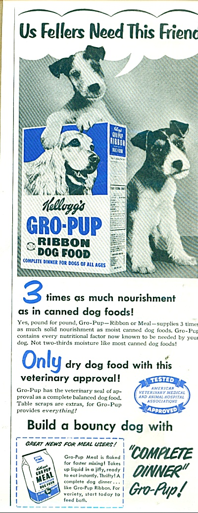 Kellogg's Gro pup dog food  ad 1951 (Image1)