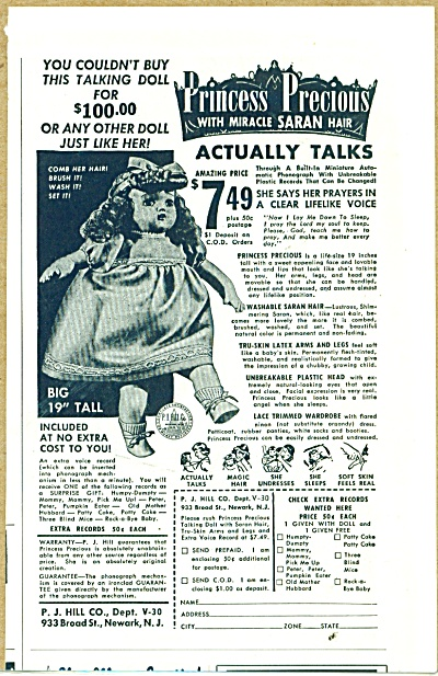1952 PJ Hill Princess Precious DOLLS DOLL AD (Image1)