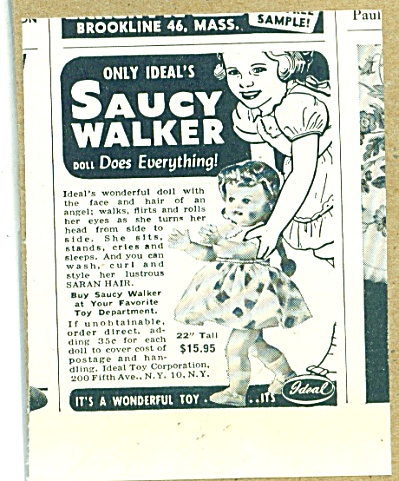 1952 IDEAL Saucy Walker DOLL AD (Image1)