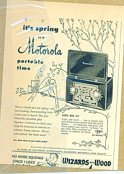 1950 Motorola Portable Radio Ad Jewel Box 5j1