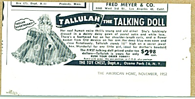 1952 TALLULAH the Talking Doll AD (Image1)