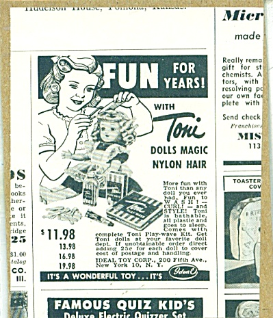 1952 IDEAL TONI DOLL DOLLS AD Nylon Hair (Image1)