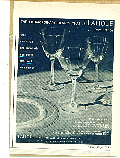 1957 LALIQUE Phalsbourg CRYSTAL GLASS AD (Image1)