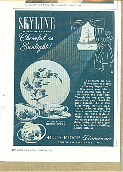 Skyline - Blue ridge dinnerware ad 1951 (Image1)
