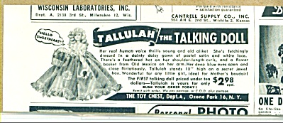 Tallulah the talking doll ad 1951 (Image1)