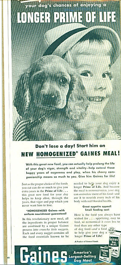 Gaines dog meal ad 1953 LITTLE GIRL AND HER DOG (Image1)