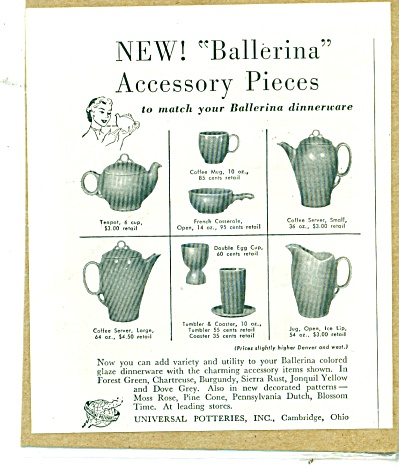 1952 Universal Potteries BALLERINA Accessory (Image1)
