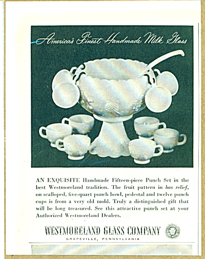 Westmoreland Glass company ad 1952 PUNCH BOWL (Image1)