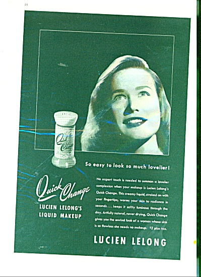 1945 LUCIEN LELONG Liquid MAKEUP AD (Image1)