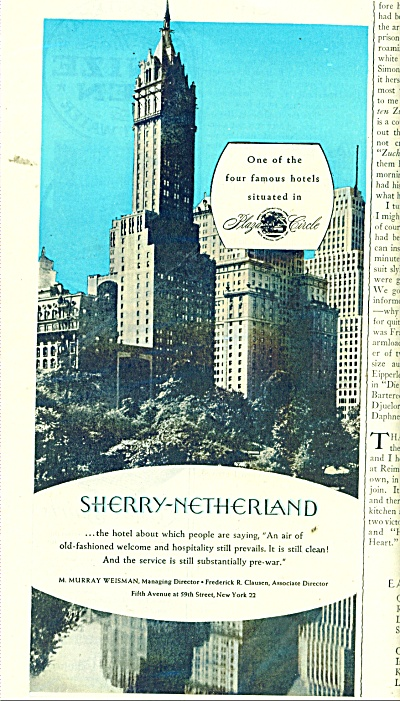 1945 SHERRY NETHERLAND HOTEL AD NEW YORK CITY (Image1)