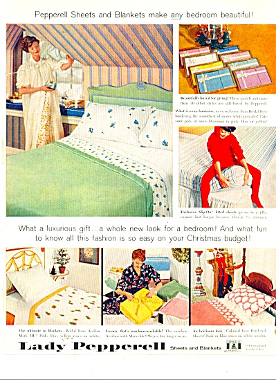 1959 Lady Pepperell Linen Ad Lady Kid Pajamas