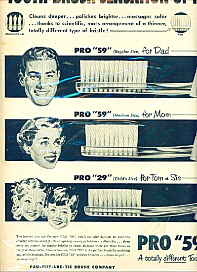 1951 PRO PHY LAC TIC 59 Toothbrush FAMILY AD (Image1)
