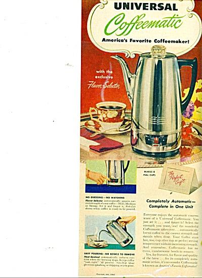 Universal coffeematic coffeemaker ad 1951 (Image1)