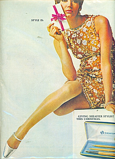 1966 Sheaffer PEN AD - Retro FASHION MODEL (Image1)