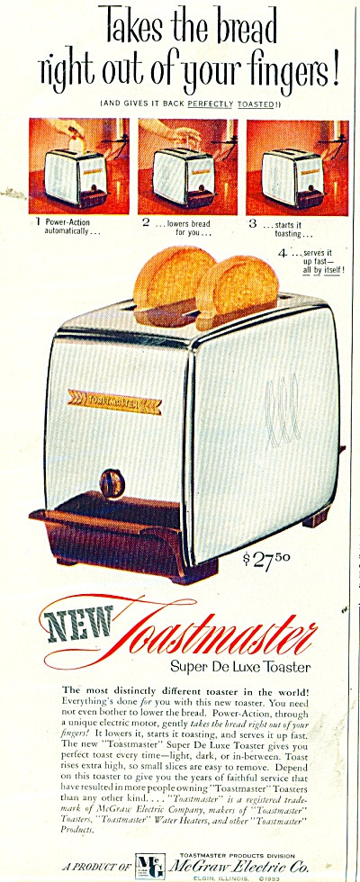 Toastmaster Super Deluxe Toaster 1953 Ad