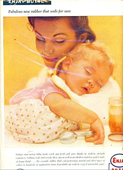 1956 ENJAY BUTYL Rubber BABY - MOTHER AD (Image1)