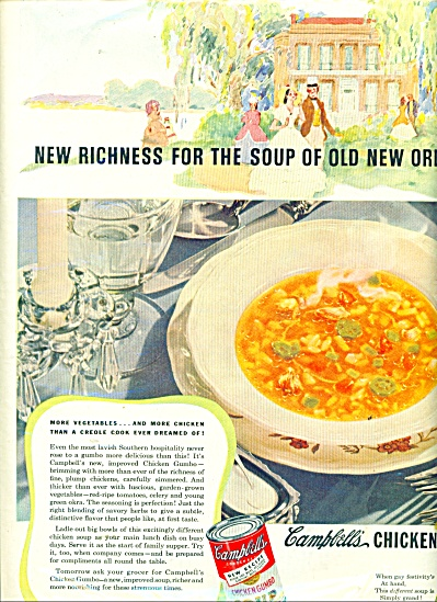 1943 CAMPBELL's CHICKEN GUMBO SOUP AD Creole (Image1)