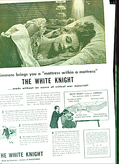 The SIMMONS White Knight mattress ad 1942 (Image1)