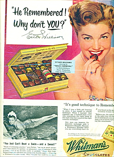 Whitmans chocolates = ESTHER WILLIAMS  ad (Image1)