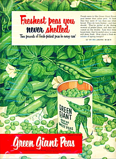 1952 Green Giant sweet peas AD Never Shelled (Image1)