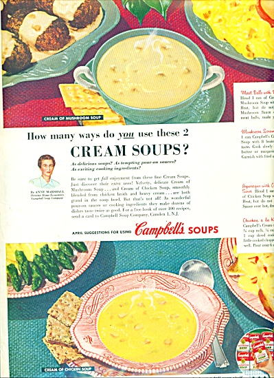 Campbell's soups ad 1954 CREAM SOUP (Image1)