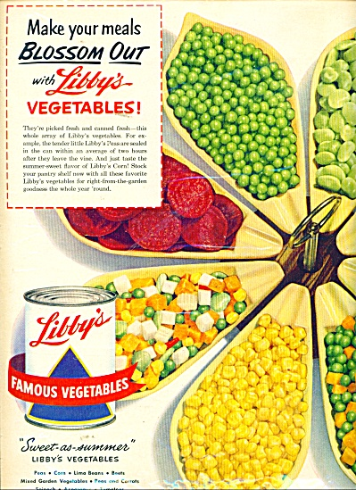 1951 LIBBY'S VEGETABLES AD Blossom Server (Image1)