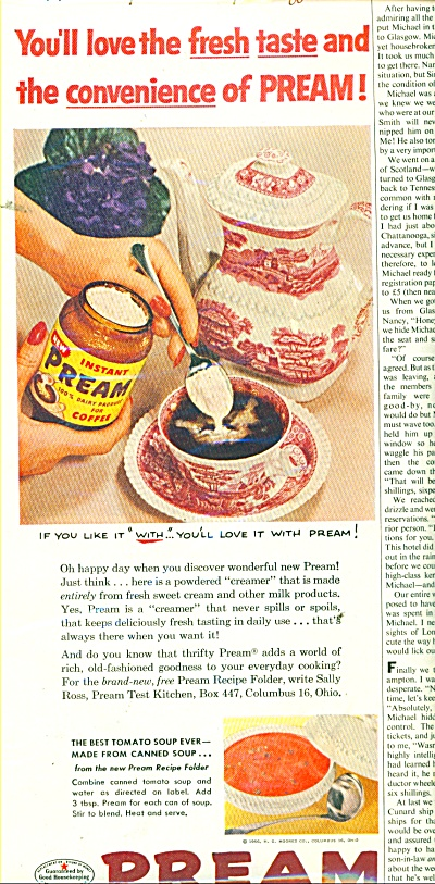 1956 PREAM Coffee Creamer AD Red Transferware (Image1)