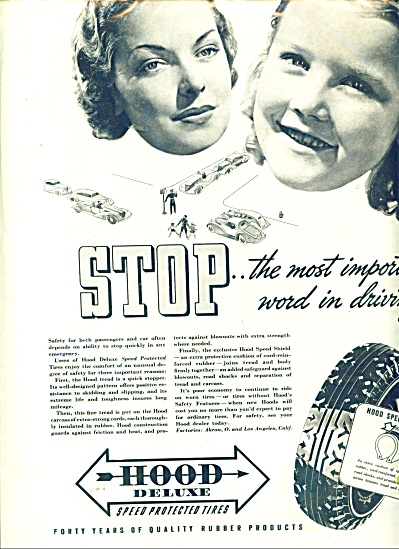Hood Deluxe Speed Protected Tires Ad 1937