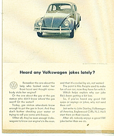 Volkswagen  ad  in 1963 VW JOKES (Image1)