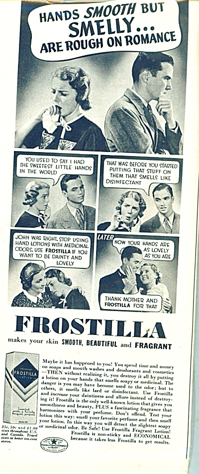 1937 FROSTILLA Lotion AD Photo Cartoon (Image1)