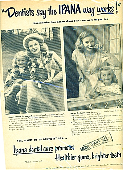 1948 IPANA Tooth Past AD MODEL JEAN ROGERS (Image1)