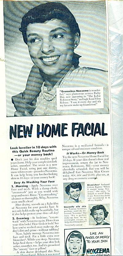 1950 Noxzema Skin Cream AD RUBY DEE (Image1)