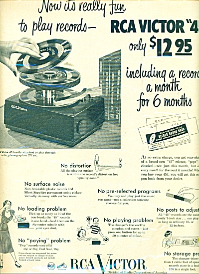 1950 Rca Victor 45j Record Player Ad