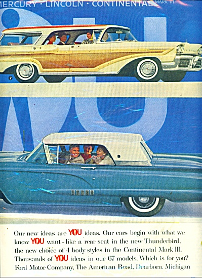 1958 FORD 2 pg CAR PROMO AD T-BIRD EDSEL ++ (Image1)